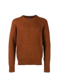 Jersey con cuello circular marrón de Prada