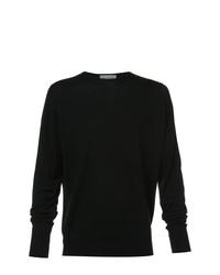 Jersey con cuello circular negro de John Smedley