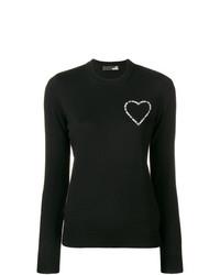 Jersey con cuello circular negro de Love Moschino