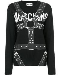 Jersey con cuello circular negro de Moschino