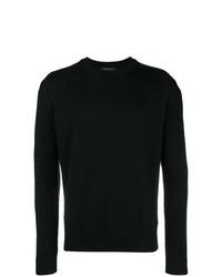 Jersey con cuello circular negro de Prada