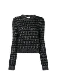 Jersey con cuello circular negro de Saint Laurent