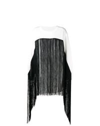 Jersey con cuello circular сon flecos blanco de MM6 MAISON MARGIELA