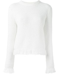 Jersey con cuello circular сon flecos blanco de Proenza Schouler