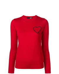 Jersey con cuello circular rojo de Love Moschino