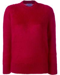 Jersey con cuello circular rojo de Prada
