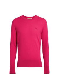 Jersey con cuello circular rosa de Burberry