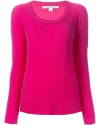 Jersey con cuello circular rosa de Diane von Furstenberg