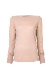 Jersey con cuello circular rosado de Dion Lee