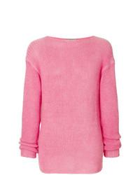 Jersey con cuello circular rosado de Ermanno Scervino