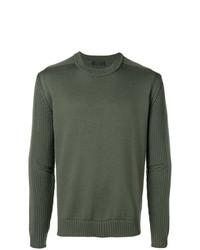 Jersey con cuello circular verde oliva de Prada