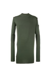 Jersey con cuello circular verde oliva de Rick Owens