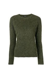 Jersey con cuello circular verde oliva de Roberto Collina