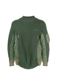 Jersey con cuello circular verde oliva de Sacai