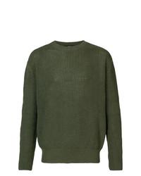 Jersey con cuello circular verde oliva de Yang Li