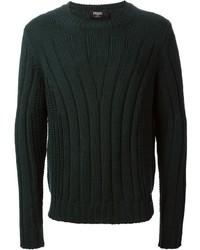 Jersey con cuello circular verde oscuro de Fendi