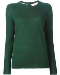 Jersey con Cuello Circular Verde Oscuro de Tory Burch