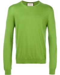 Jersey con cuello circular verde de Gucci