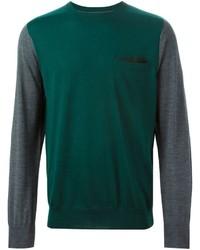 Jersey con cuello circular verde de Sacai