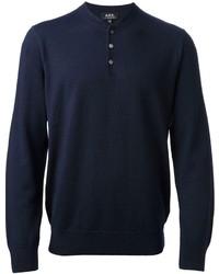 Jersey con cuello henley azul marino de A.P.C.