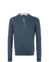 Jersey con cuello henley azul marino de Dell'oglio