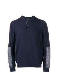 Jersey con cuello henley azul marino de Giorgio Armani