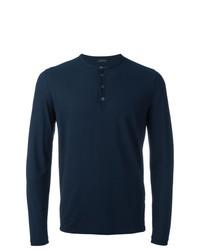 Jersey con cuello henley azul marino de Zanone