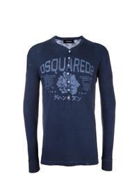 Jersey con cuello henley con print de flores azul marino de DSQUARED2