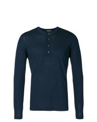 Jersey con cuello henley de punto azul marino de Dell'oglio