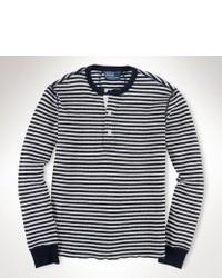 Jersey con cuello henley de rayas horizontales en azul marino y blanco