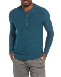 Jersey con cuello henley en verde azulado