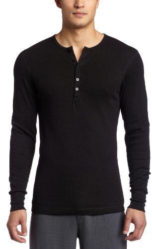 Jersey con cuello henley negro