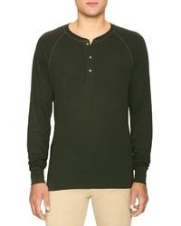 Jersey con cuello henley verde oliva