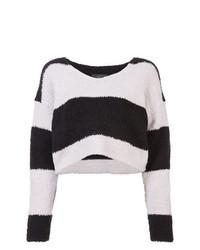 Jersey corto de rayas horizontales en negro y blanco de Amiri