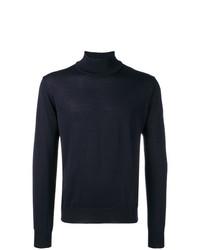 Jersey de cuello alto azul marino de Corneliani