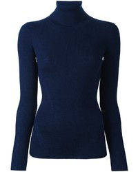 Jersey de cuello alto azul marino de Diane von Furstenberg