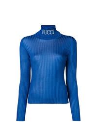Jersey de cuello alto azul de Emilio Pucci