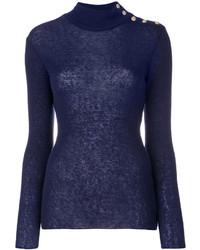 Jersey de cuello alto con adornos azul marino de Balmain