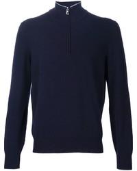 Jersey de cuello alto con cremallera azul marino de Brunello Cucinelli