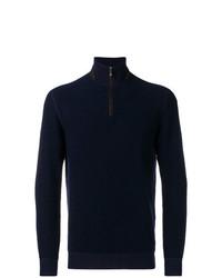 Jersey de cuello alto con cremallera azul marino de Ermenegildo Zegna
