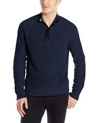 Jersey de cuello alto con cremallera azul marino de Kenneth Cole New York