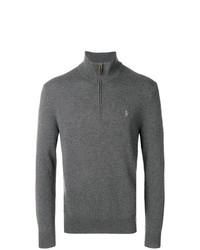 Jersey de cuello alto con cremallera en gris oscuro de Polo Ralph Lauren