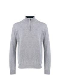 Jersey de cuello alto con cremallera gris de Corneliani