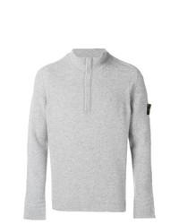 Jersey de cuello alto con cremallera gris de Stone Island