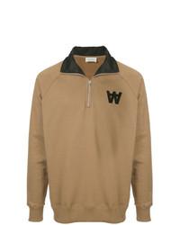 Jersey de cuello alto con cremallera marrón claro de Wood Wood