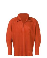 Jersey de cuello alto con cremallera naranja de Homme Plissé Issey Miyake
