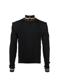 Jersey de cuello alto con cremallera negro de Wales Bonner