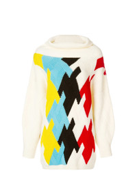 Jersey de cuello alto con estampado geométrico blanco de DELPOZO