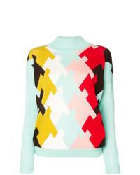 Jersey de cuello alto con estampado geométrico celeste de DELPOZO