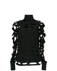 Jersey de cuello alto con estampado geométrico negro de Gloria Coelho
